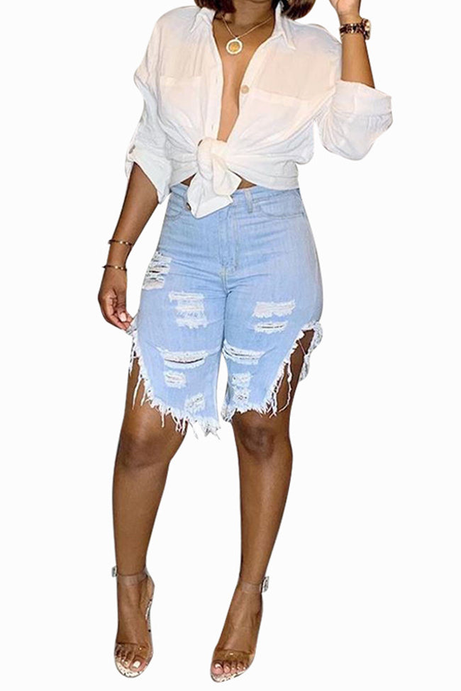 Classic denim cropped pants with fringed holes-Bottoms-Chicbela