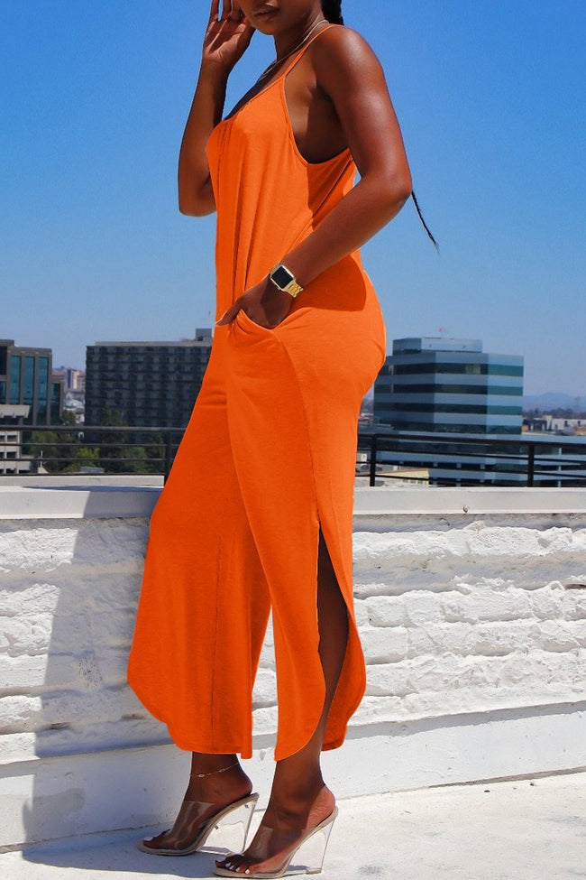 Spaghetti Straps Side Slit Solid Color Jumpsuit-Jumpsuits-Chicbela