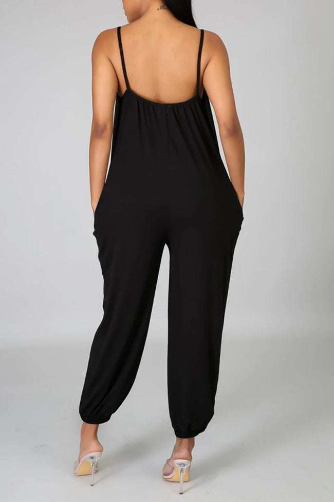 Spaghetti Straps Open Back Jumpsuit Without Belt-Jumpsuits-Chicbela