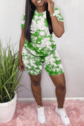 Plus Size Tie Dye Short Sleeve Two Piece Sets-Sets-Chicbela