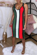 Rainbow Striped V-neck Casual Midi Dress-Dresses-Chicbela