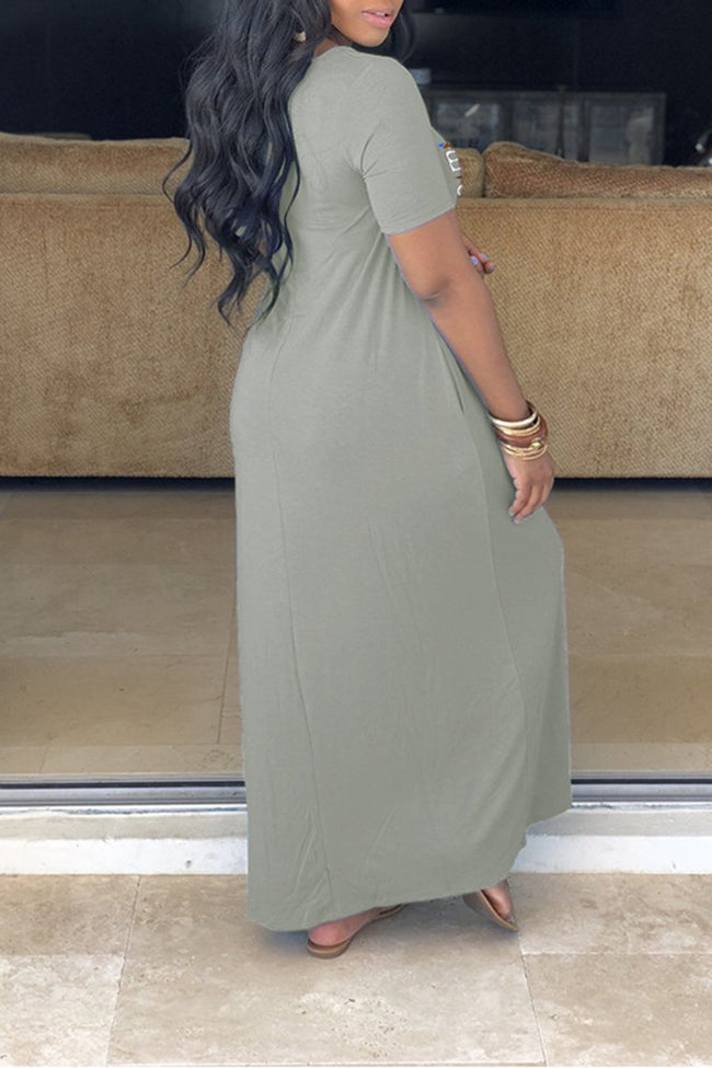 V-Neck Pocket Letter Plus Size Maxi Dress-Dresses-Chicbela