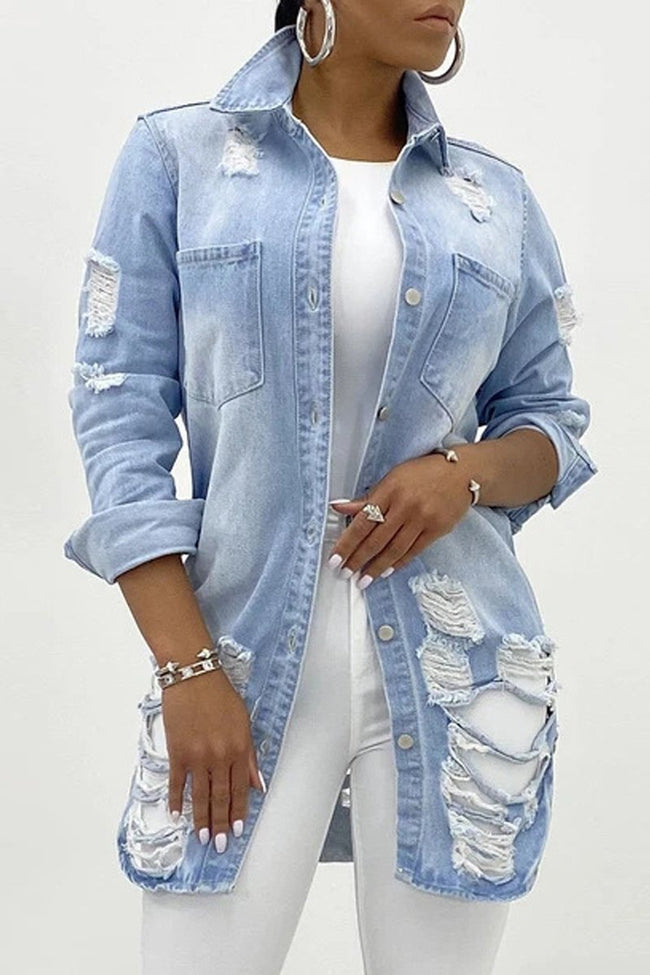 Hole Distressed Denim Button Jacket-Tops-Chicbela