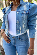 The Movement Distressed Denim Jacket-Coats-Chicbela