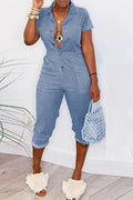Denim Turndown Collar Elastic Waist Jumpsuit-Jumpsuits-Chicbela