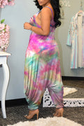 Tie Dye Wrinkled Sleeveless Wide Leg Jumpsuit-Jumpsuits-Chicbela