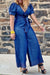 Denim V-neck Lace-up Wide Leg Jumpsuit-Jumpsuits-Chicbela
