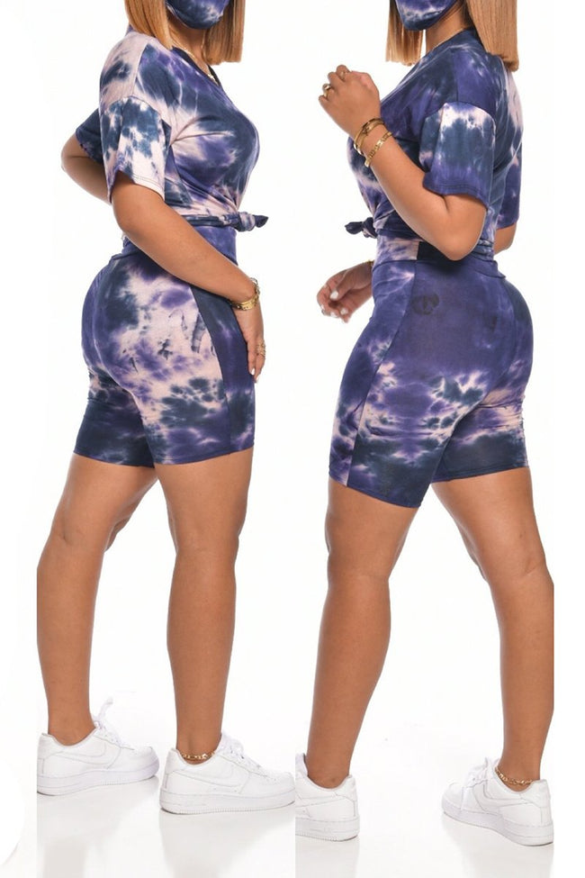 Knotted Tie Dye Solid Top & Shorts-Sets-Chicbela