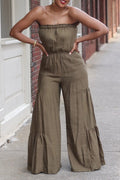 Strapless Solid Color Wide Leg Jumpsuit-Jumpsuits>Jumpsuits>Solid-Chicbela