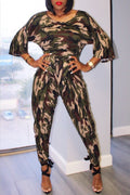 Camouflage Print Jumpsuit Without Belt-Jumpsuits-Chicbela