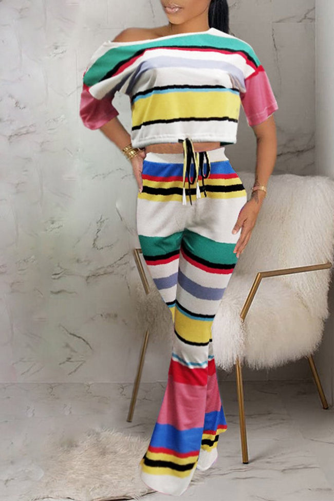 Rainbow Striped Skew Neck Lace Up Two Piece Sets-Sets-Chicbela