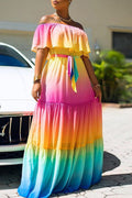 Off The Shoulder Tie Dye Belted Maxi Dress-Dresses-Chicbela