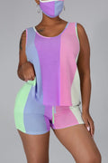 Rainbow Striped Drawstring Sleeveless Top & Shorts-Sets-Chicbela