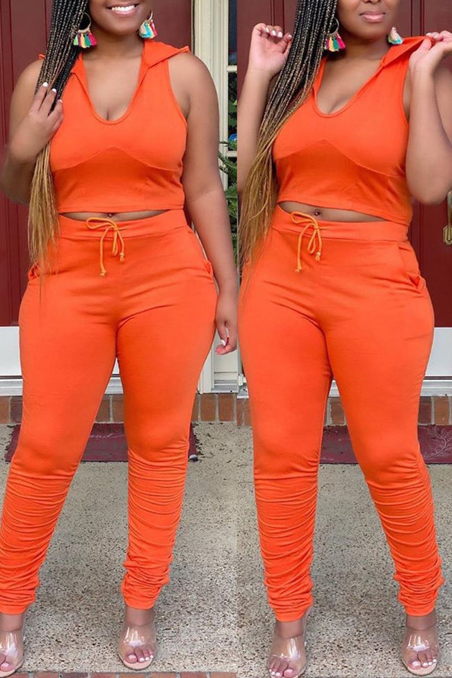 Hooded Collar Solid Color High Waist Top & Pants-Sets-Chicbela