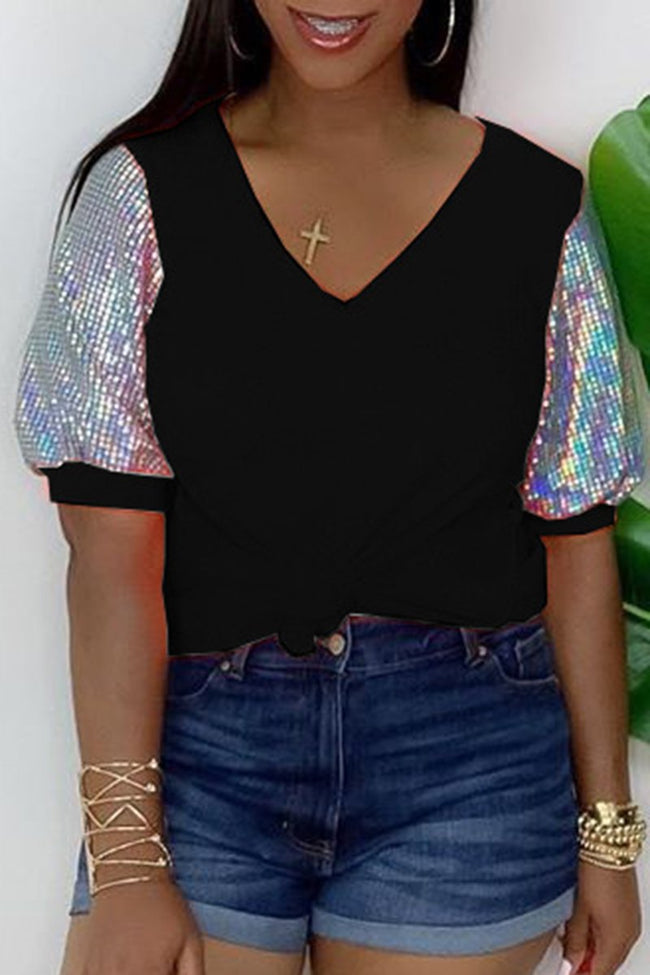 Sequins Knotted Puff Sleeve T-Shirt-Tops-Chicbela