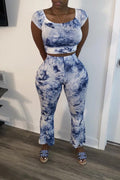 Off The Shoulder Tie Dye Two Piece Sets-Sets-Chicbela