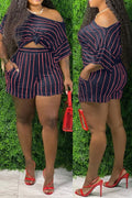 Plus Size Striped Skew Neck Top & Shorts-Sets-Chicbela