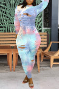 Hole Distressed Tie Dye Long Sleeve Jumpsuit-Jumpsuits-Chicbela