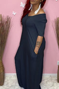 V-Neck Plus Size Pocket Maxi Dress-Dresses>Long>Solid-Chicbela