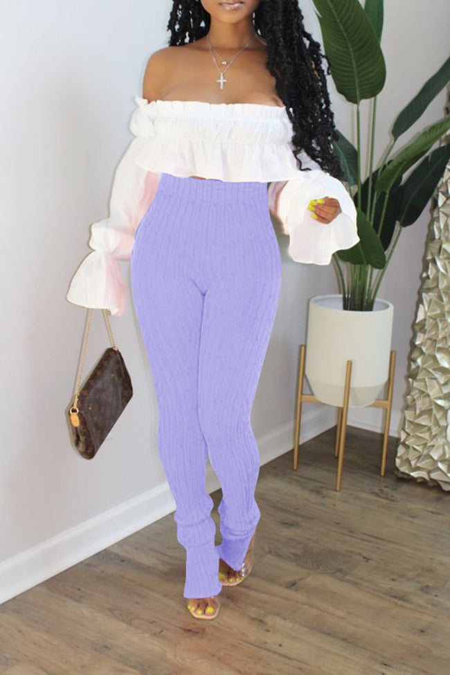 Ruffled Off The Shoulder Top & Knitted Pants-Sets-Chicbela