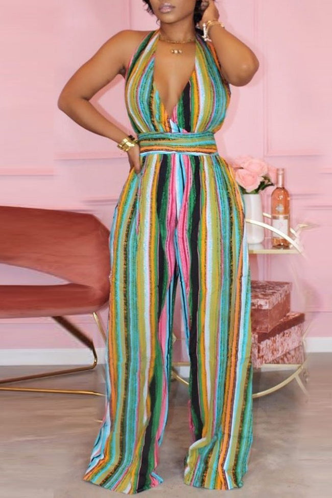 Rainbow Striped Halter Neck Jumpsuit-Jumpsuits-Chicbela
