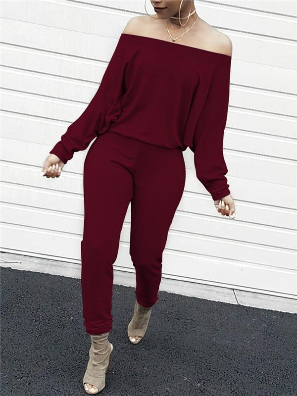 Batwing Sleeve Off the Shoulder Solid Color Casual jumpsuits-jumpsuitss-Chicbela