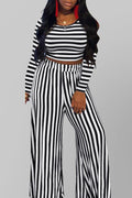 Open Back Stripe Print Top & Wide Leg Pants-Sets-Chicbela