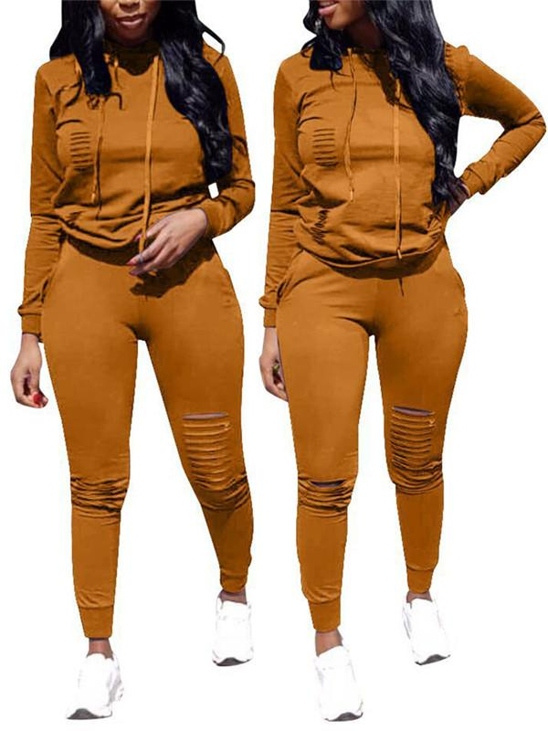 Hooded Collar Distressed Long Sleeve Casual Top & Pants-Sets>Pant Sets>Solid-Chicbela