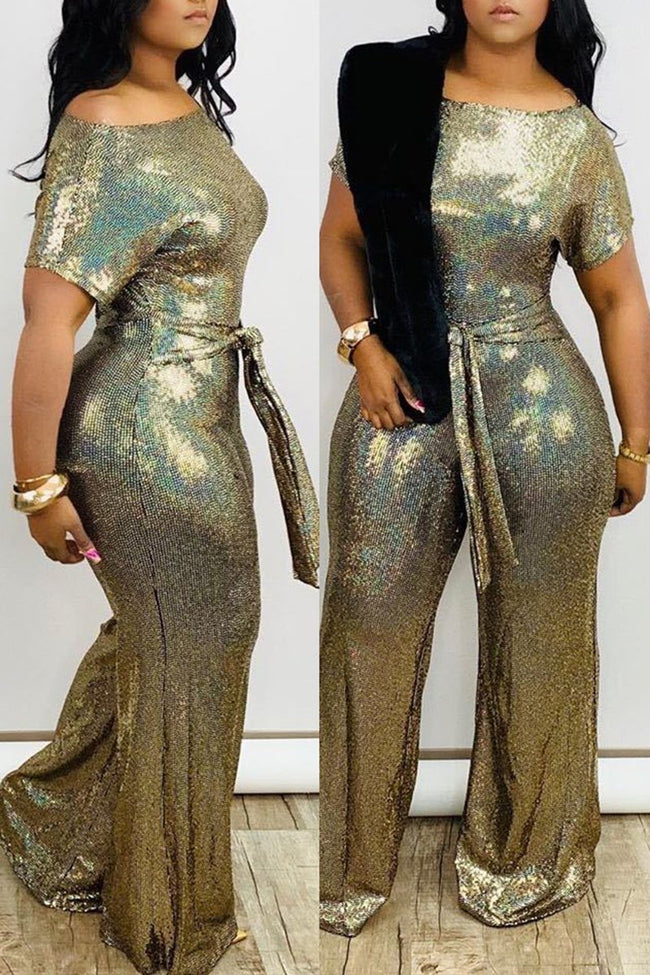 Skew Neck Sequins Plus Size Jumpsuit With Belt-Jumpsuits-Chicbela