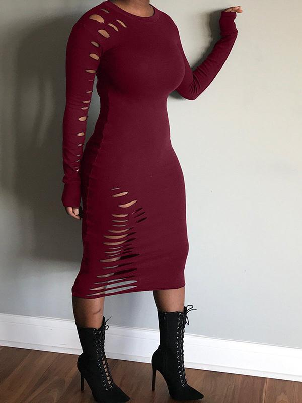 Distressed Solid Color Long Sleeve Midi Dresses-Dress-Chicbela