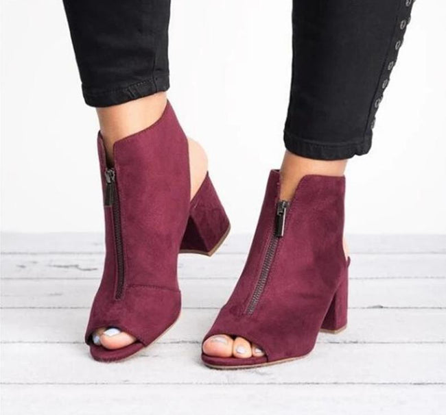 Ankle Boots Faux Suede Leather-Shoes-Chicbela