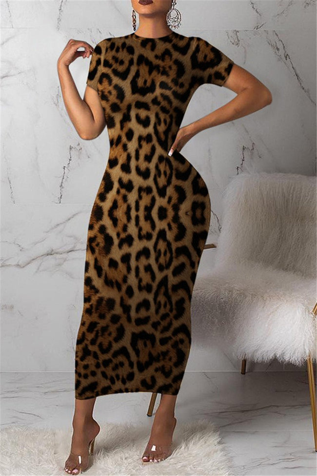 Leopard Printed Maxi Dress-Dresses>Long>Sexy-Chicbela