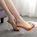 Transparent Thick High Heel Slippers-Shoes-Chicbela