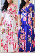 Plus Size Multicolor Printing Long Sleeve Dress-Dresses>Long>Fashion-Chicbela