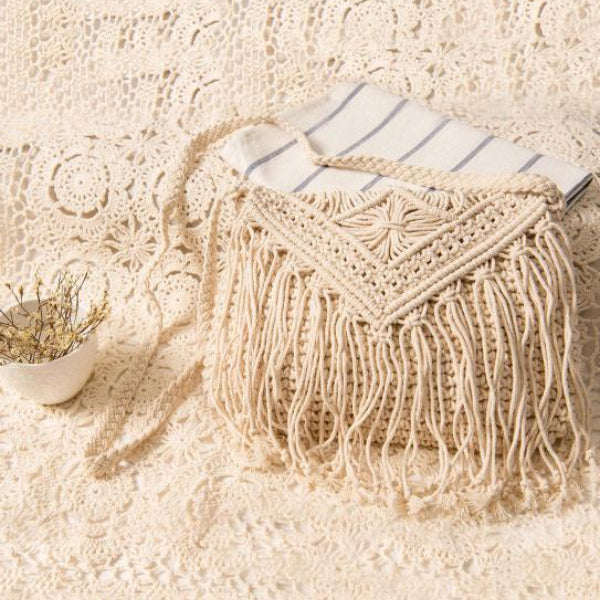 Knitted Crossbody Tasseled Bag-Bags-Chicbela