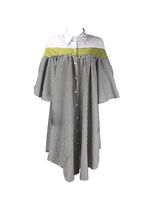 Stripe Combo Shirt dresses-Dresses-Chicbela