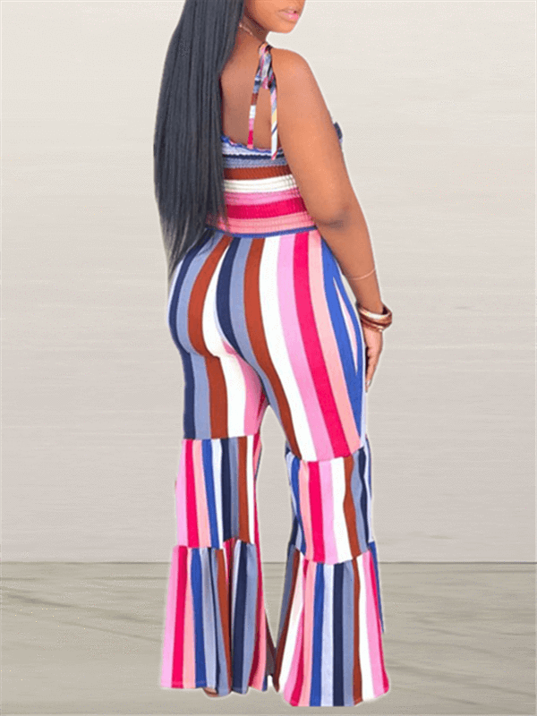 Stripe Cami Flared Jumpsuit-Jumpsuits-Chicbela