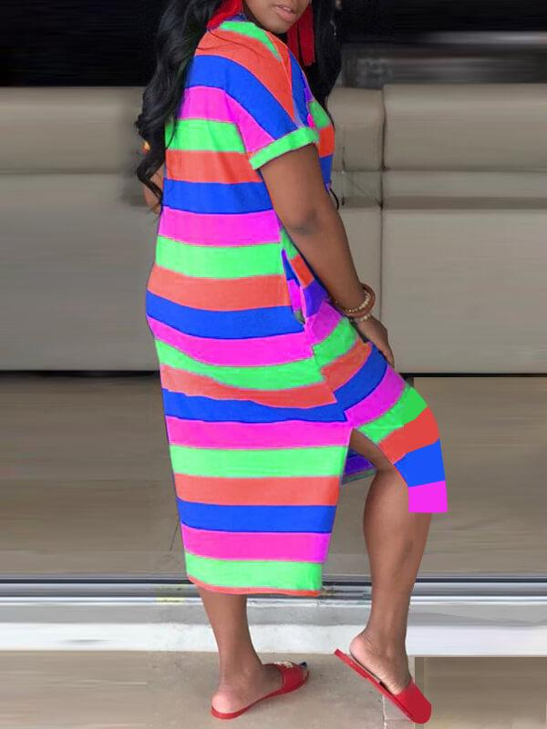 Multicolor Striped Slit Tee dresses-Dresses-Chicbela