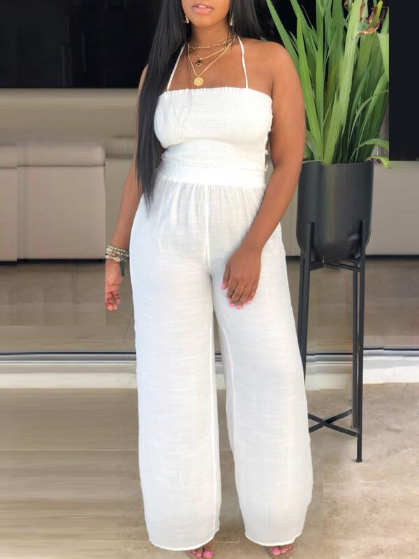 Backless Halter Jumpsuit-Jumpsuits-Chicbela