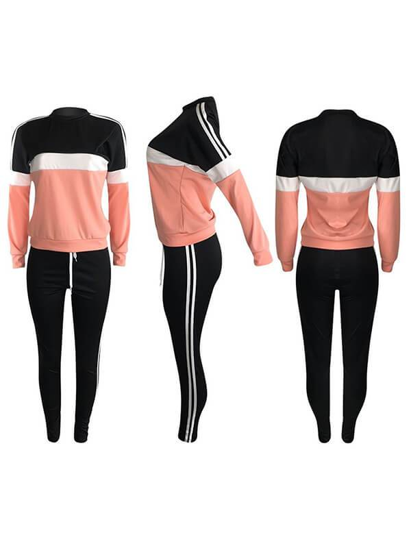 Three-Tone Side-Stripe Sweatshirt & Pants Set-Sets-Chicbela