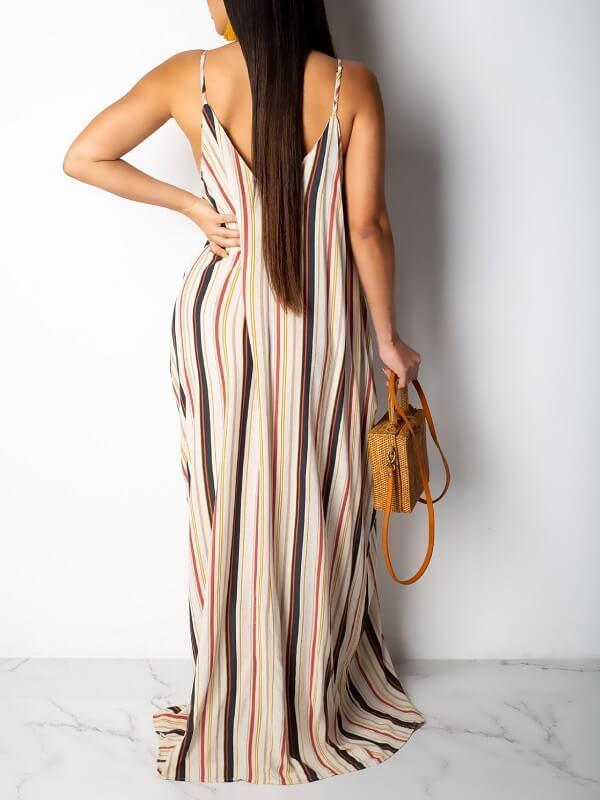 Stripe V-Neck Cami Dress-Dresses-Chicbela