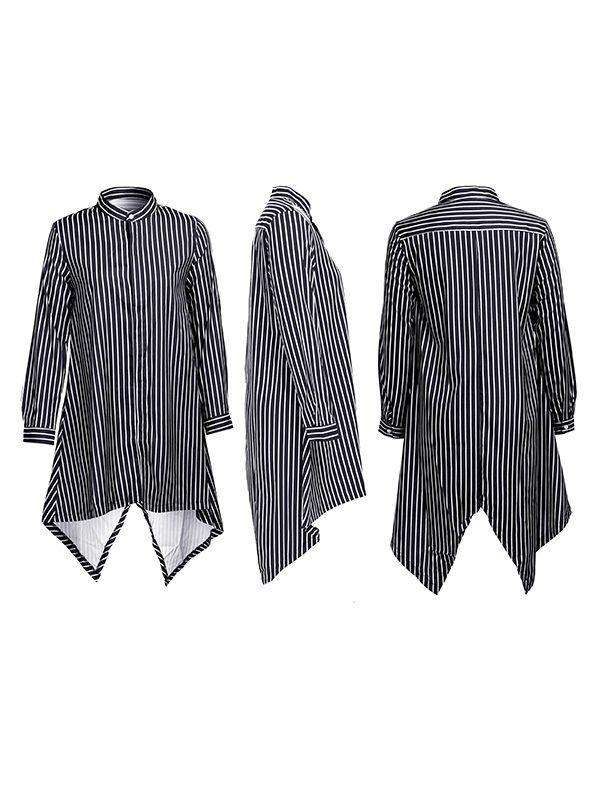 Stripe Asymmetric-Hem Shirt-Tops-Chicbela