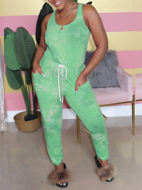 Tied-Front Sleeveless Jumpsuit-Jumpsuits-Chicbela