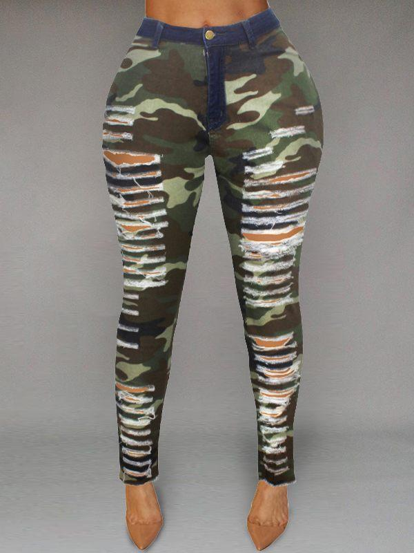 Camo Ripped Jeans-Bottoms-Chicbela
