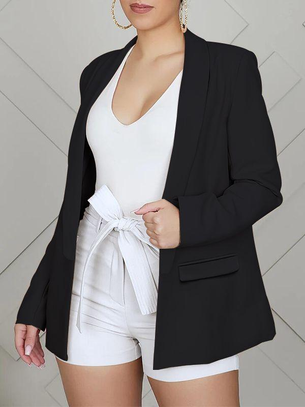 Solid Open-Front Blazer-Tops-Chicbela