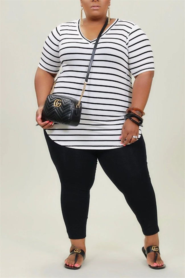 Plus Size Stripe Print V Neck Top & Pants-Sets-Chicbela