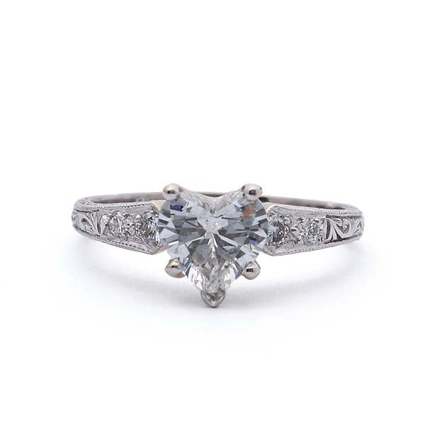 Replica Art Deco Engagement Ring set with a heart shaped diamond #1033HRT-01 - Leigh Jay & Co.