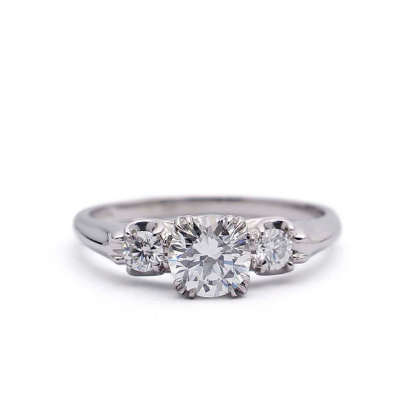 Replica 1930s Engagement ring set with a vintage diamond. #1228-3 - Leigh Jay & Co.