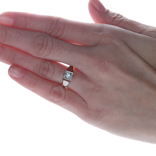 Replica Edwardian Engagement ring set with a vintage diamond #1913-01 - Leigh Jay & Co.