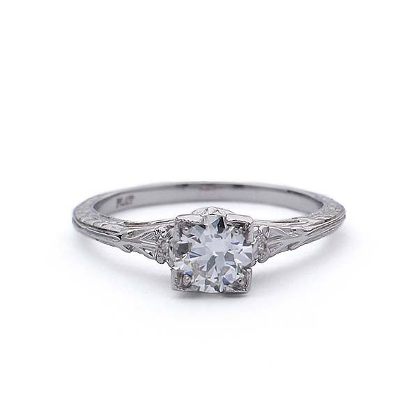 Replica Art Deco  Engagement Ring with a vintage Diamond #1946-19 - Leigh Jay & Co.